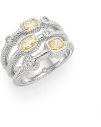 Judith Ripka | Isabella White Sapphire & Sterling Silver Tri-band Ring | Lyst