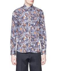 Maison Kitsuné | 'hibiscus Classic' Mother Of Pearl Button Poplin Shirt | Lyst