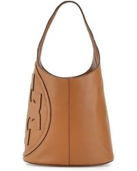 Tory Burch All-T Leather Hobo Bag brown - Lyst