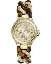 Michael Kors Mini Golden Stainless Steel Twisted Camille Three-Hand Glitz Watch - Lyst