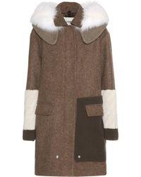 Fendi Wool Coat With Fox Fur - Lyst
