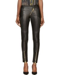 Fausto Puglisi Black Leather Ribbed Biker Trousers - Lyst