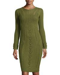 Philosophy di Alberta Ferretti Open-Knit Long-Sleeve Sweater Dress - Lyst