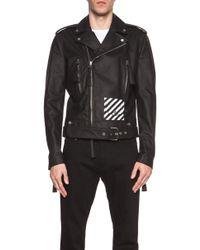 Off-white Men'S New White Leather Biker Jacket - Lyst