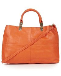 Topshop Faux Leather Tote - Lyst