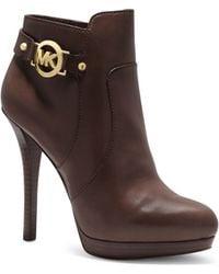 Michael Kors Wyatt Logo Leather Ankle Boot - Lyst