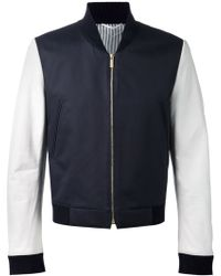 Thom Browne Contrasting Leather Sleeve Bomber Jacket - Lyst