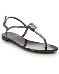 Giuseppe Zanotti Crystal Metallic Snake-Embossed Leather Sandals - Lyst