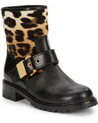 Giuseppe Zanotti Leather  Leopard-print Calf Hair Moto Boots - Lyst