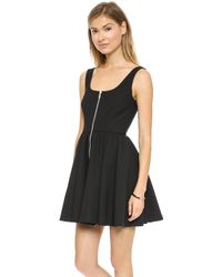 Elizabeth And James Cambelle Zip Front Dress Black - Lyst
