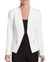 Ivanka Trump Collarless Open-Front Jacket - Lyst