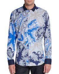 Etro Slim-fit Paisley  Plaid Cotton Sportshirt - Lyst