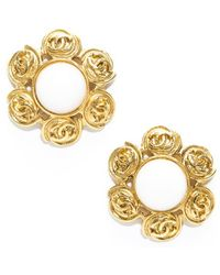 Chanel Preowned White Stone Gold Cc Clip On Earrings - Lyst