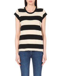 James Perse Striped Jersey T-Shirt - For Women black - Lyst