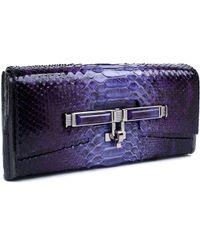 Kara Ross Lux Box Clutch Handbag In Plum Fade Python - Lyst