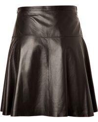 Michael Kors Flared Leather Skirt - Lyst