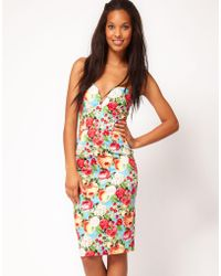 ASOS -  Pencil Dress in Fruit and Floral Print - Lyst