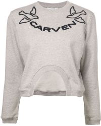 Carven Gray Logo Sweater - Lyst