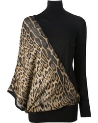 Roberto Cavalli Leopard Panel Sweater Dress - Lyst