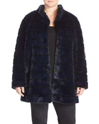 Laundry by Shelli Segal - Grooved Faux Fur A-line Coat - Lyst