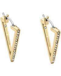 Michael Kors Pavé-embellished Gold-tone Triangle Hoop Earrings - Lyst