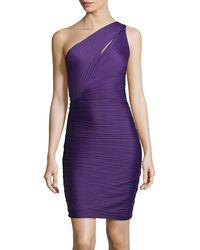 Halston Oneshoulder Ruched Crepe Dress - Lyst