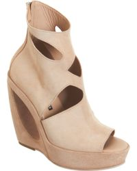 Ann Demeulemeester Cut Out Detailed Wedge Ankle Boot
