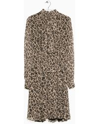 Mango Leopard Chiffon Dress - Lyst