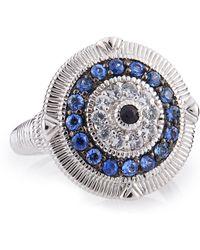Judith Ripka Ridged Sapphire Evil Eye Ring 7 - Lyst