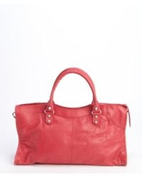 Balenciaga Pink Leather Part Time Zipper Buckle Detail Convertible Tote - Lyst