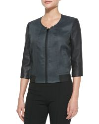 Helmut Lang Lambskin and Glossy Linen-twill Bomber - Lyst