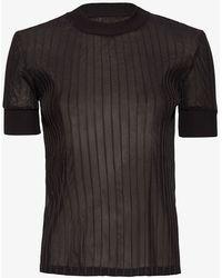 Carven   Rib Knit Trim Tee: Black   Lyst