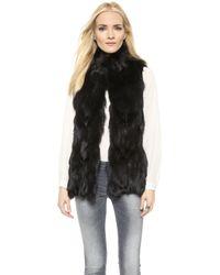 Jocelyn Fox Fur Vest - Black - Lyst