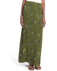 Hinge - Floral Printed Jersey Maxi Skirt - Lyst