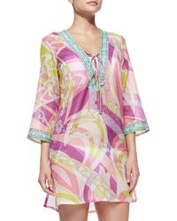 Emilio Pucci Lace Up- Front Voile Cover Up - Lyst