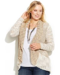 Inc International Concepts Plus Size Marled Open-Front Cardigan - Lyst