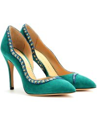 Charlotte Olympia Serpent Vamp Suede Pumps - Lyst