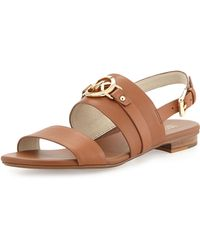 MICHAEL Michael Kors Molly Leather Flat Sandals - Lyst