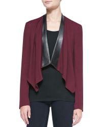 Amanda Uprichard - Faux-Leather-Trim Cascade-Front Blazer - Lyst