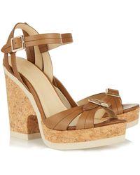 Jimmy Choo Nemisis Leather Platform Sandals - Lyst