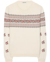 Miu Miu Embroidered Cotton Sweater - Lyst