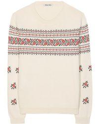 Miu Miu Embroidered Cotton Sweater beige - Lyst