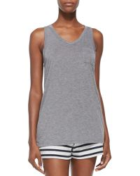 T By Alexander Wang Racerback Pocket Tank - Lyst