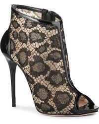Alexander McQueen Freital Peep-Toe Lace Ankle Boots - Lyst
