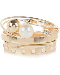 River Island Gold Tone Pearl Cluster Bangle - Lyst