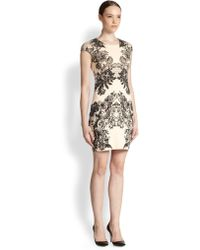 McQ by Alexander McQueen Lace Print Stretch Cotton Bodycon Dress - Lyst