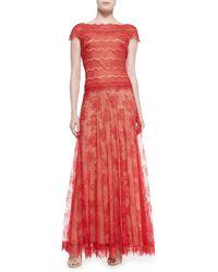 Tadashi Shoji Cap Sleeve Scalloped Metallic Lace Overlay Gown - Lyst