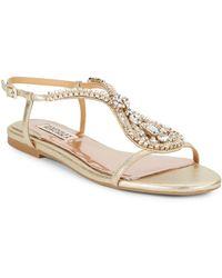Badgley Mischka Mckinzey Jewel-Embellished Metallic Leather Sandals - Lyst