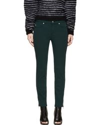 Alexander McQueen Bottle Green Zipped Jeans - Lyst