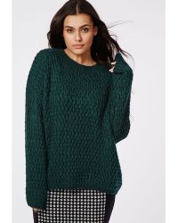 Missguided Plus Size Chunky Knit Jumper Forrest Green - Lyst